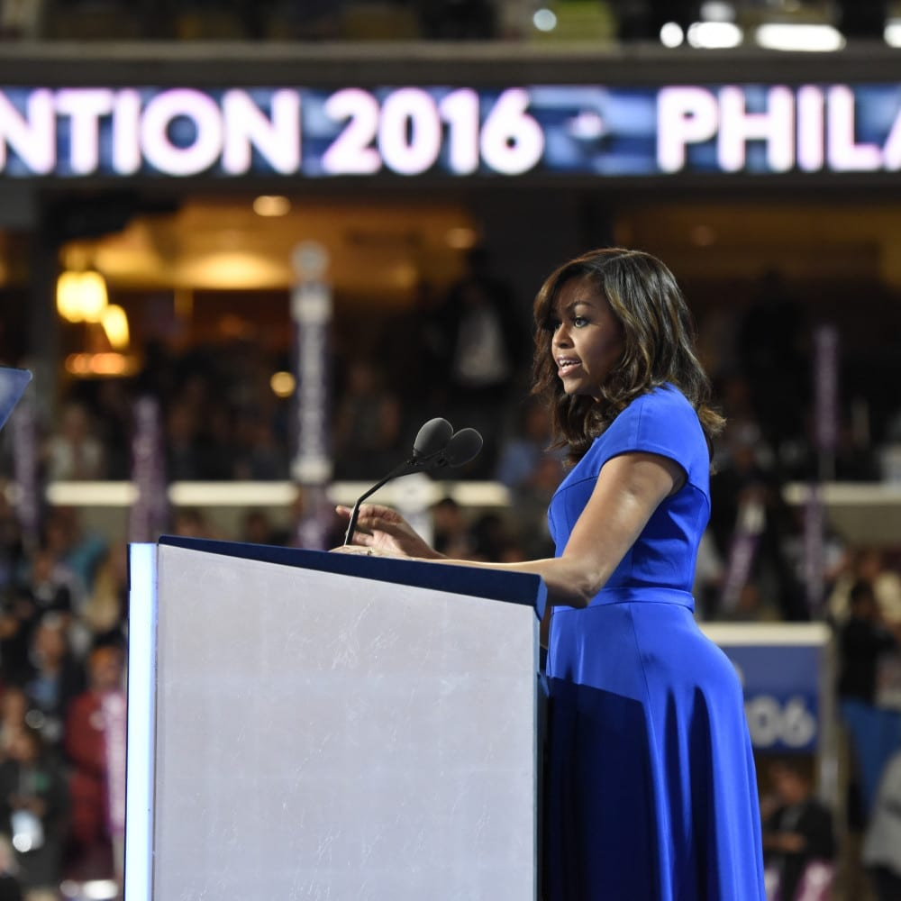 ABC NEWS - 7/25/16 - Coverage of the 2016 Democratic National Convention from the Wells Fargo Center in Philadelphia, PA which airs on all ABC News programs and platforms. (ABC/ Ida Mae Astute)    FIRST LADY MICHELLE OBAMA