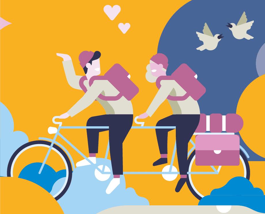 kuvituskuva, jossa kaksi hahmoa ajaa tandem-pyörällä