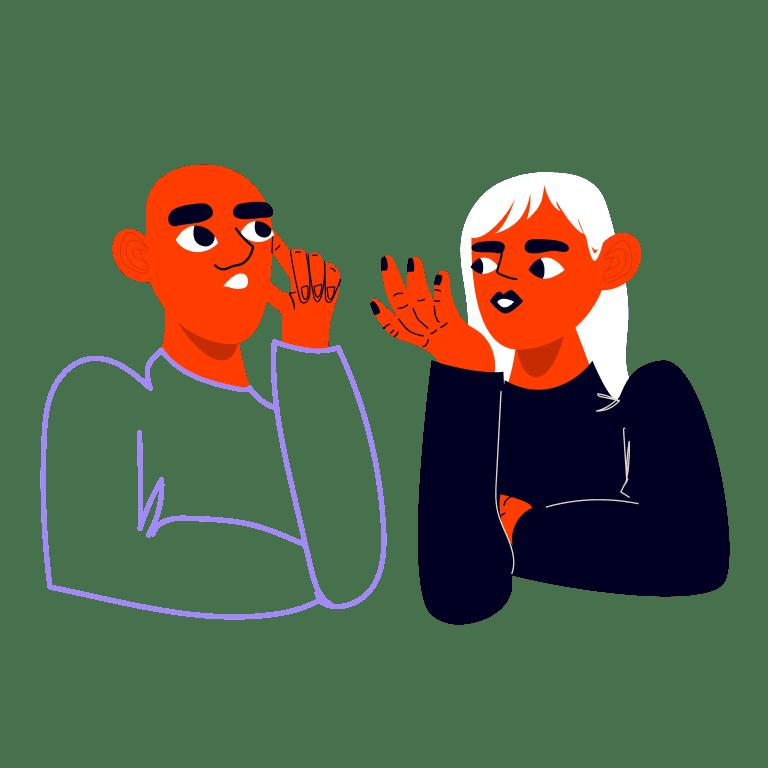 Kaksi ihmistä keskustelemassa