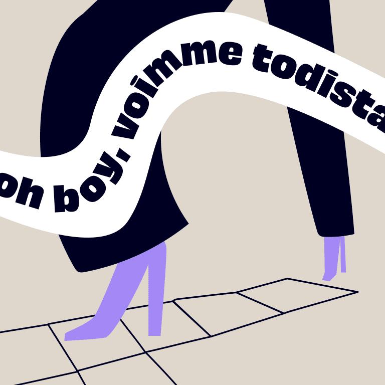 Kuvituskuva, joka kertoo Evermaden osuudesta Ellun Kanojen nettisivu-uudistuksessa. Ruudukolla kävelevät jalat, joiden päällä lainaus tekstistä.