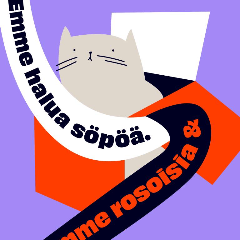 """Kuvituskuva, jossa kissa kuikuilee laatikosta. Päällä nauhana lainaus, jossa lukee """"Emme halua söpöä""""."""