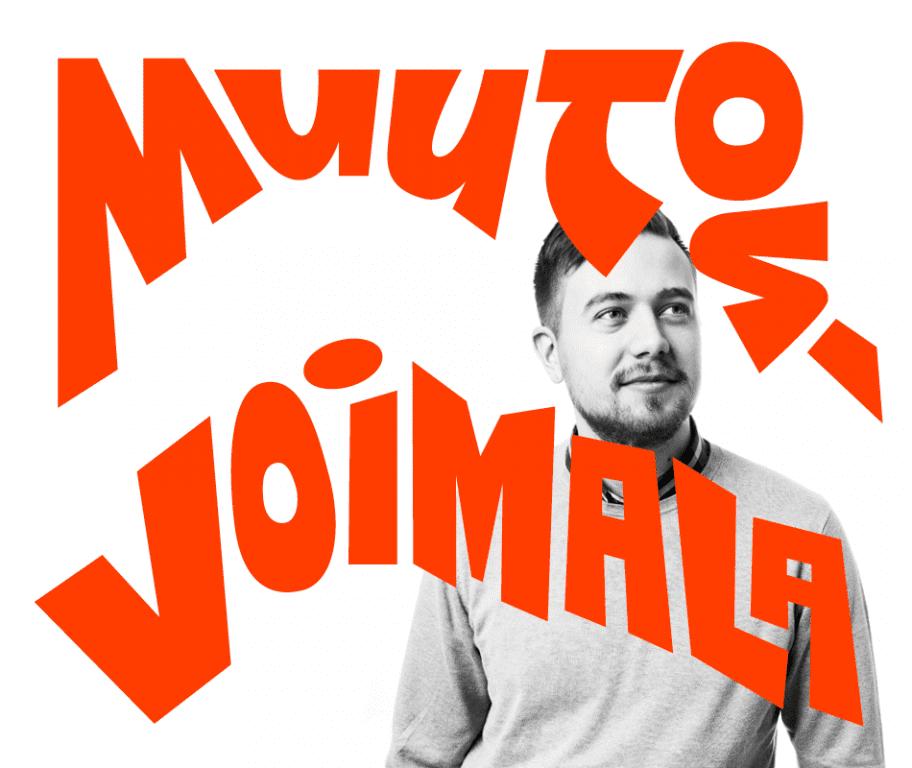 Valokuvassa Mikko Myllymäki ja valokuvan päällekirjoitettuna blogisarjan nimi, Muutosvoimala