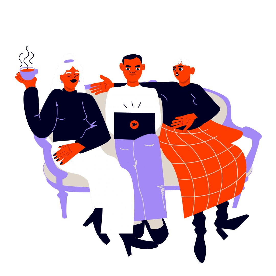 Illustration of people sitting on a couch