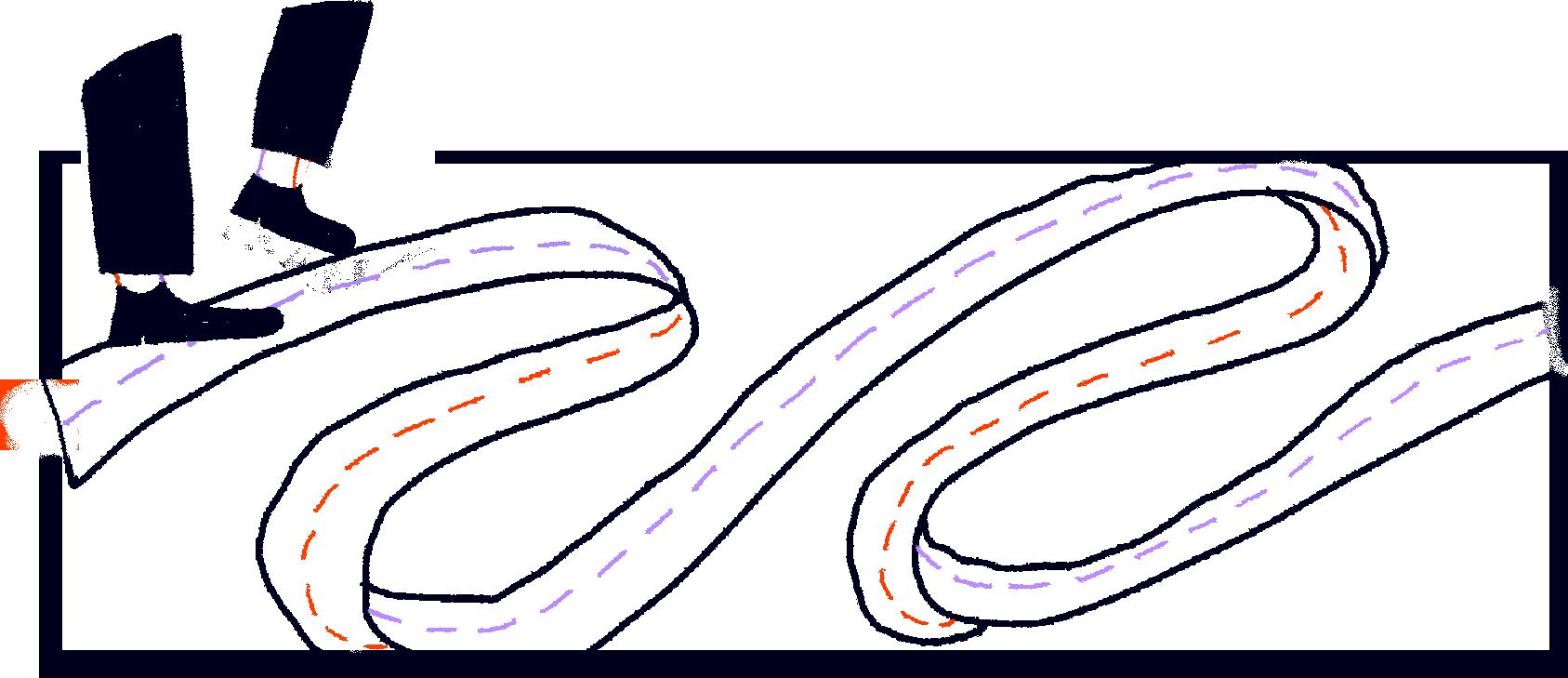 Illustraatio, jossa ihmisen jalat ovat aloittamassa matkaansa