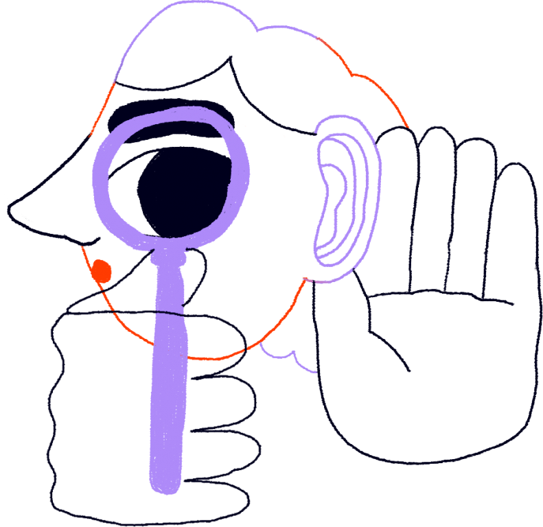 Illustration of a person looking through a magnifying glass