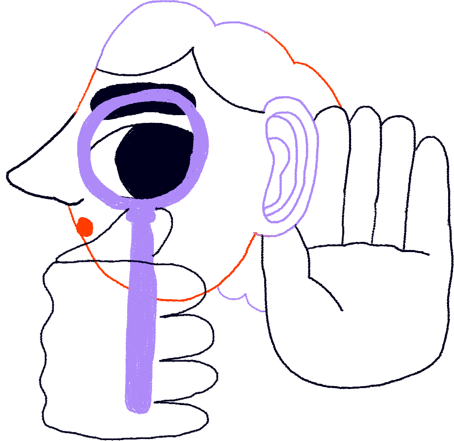 Illustrative photo of a person with a magnifying glass