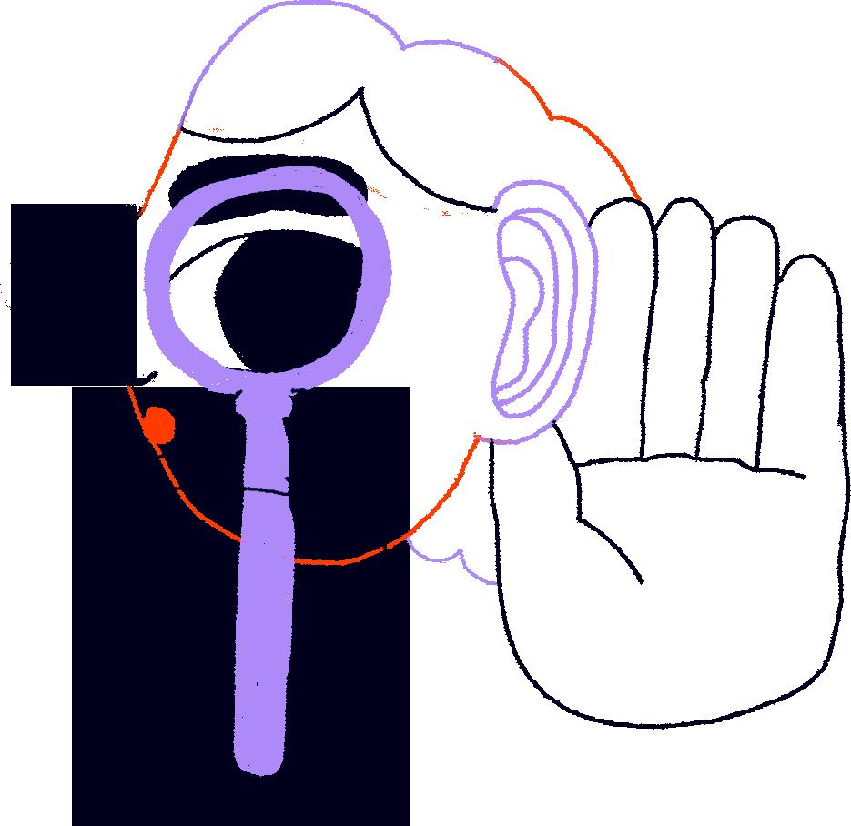Illustraatio, jossa ihminen katsoo suurennuslasin läpi.